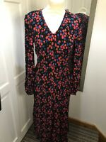 BNWT MARKS AND SPENCER Black Red Winter Floral Size 8 Midi Dress Autumn