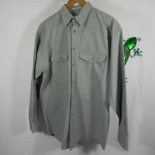 AXXA Mens Button Down Long Sleeve Shirt Cotton Blue Size 16- 32-33