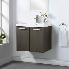 Farmhouse 24.5 Inch Walnut Single Sink Wall Hung Bathroom Vanity with Top