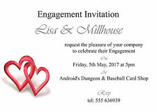 Red Hearts Engagement Invitation Cards - 50 invites