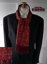 VINTAGE 1960s TOOTAL FRINGED SCARF RED WINE PAISLEY MOD DAPPER SCOOTER EXCELLENT