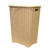 45L Rattan Quality Plastic Laundry Bin Washing Multi Storage Basket Box Brown LB