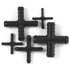 X Cross 4 way Pipe Hose Connector Fittings Tubing barbed joiner splitter plastic
