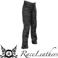 RICHA CAROLINA LADIES BLACK VINTAGE LOOK LEATHER MOTORCYCLE BIKE TROUSERS SHORT