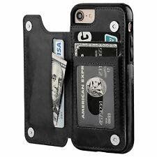 iPhone 7,8 Wallet Case Premium PU Leather Kickstand Card Slots Case