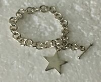 """Vintage Heavy Solid Sterling Silver Star Chain 7.5 in. """" Bracelet 925 Toggle"""