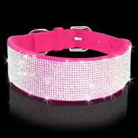 Soft Suede Rhinestone Dog Collars Bling Diamante for Small Large Dogs Pet Puppy