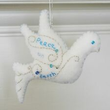 Christmas Peace Dove Ornament  Holiday Felt Embroidery Kit in Silver and Blues.