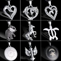 Men Punk Jewellery Horse Elephant Heart Stainless Steel Leather Pendant Necklace
