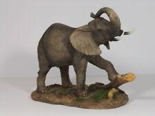 Elefant auf Platte Skulptur Elefanten Deko Garten Tier Figur Afrika Statue