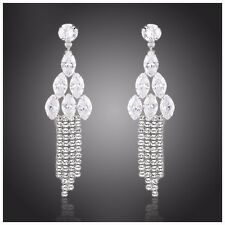S7 Made Using Swarovski Crystals Silver Droplet Long Earrings $98