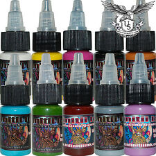 Infinitii Tattoo Ink 10 Color Set #1 ( 1/2oz Bottles ) w free 2oz Stencil Guru!