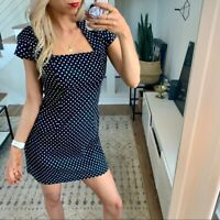 ModCloth Ixia Dress White Black Polka Dot Retro Style Fit & Flare SZ Medium