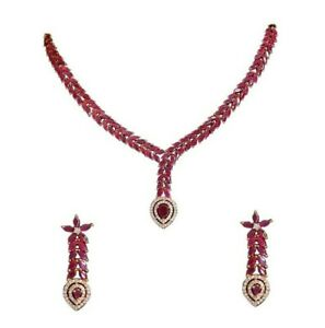 Babosa Sakhi Ruby Pink Necklace Marquise Stones Collar Set Party Wear Jewelry