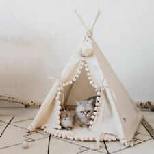 Luxury Pompon Pet Teepee House - 28 Inch Beige Elegant Cat Dog Puppy Snuggle Can