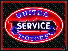 UNITED MOTORS GAS/SERVICE STATION NEON STYLE BANNER SIGN GARAGE ART 4' X 3'