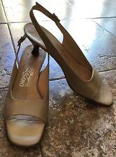 Salvatore Ferragamo Women Leather Pumps Kitten Heel Pale Gold US 8 AA Italy $550