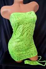 Exotic Dancer Stripper UV Glow Sparkle Net Side Tube Dress Thong Set~ Dancewear