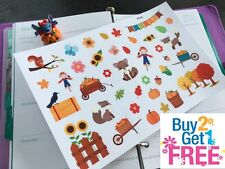 PP343 -- Pumpkin Picking Fall Icons Planner Stickers for Erin Condren (39pcs)
