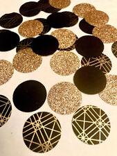 Black and Gold confetti, Glitter Circle Confetti, 50th birthday confetti 150 ct