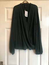 Lindex Jane Shirt Long Sleeves Dark Green Size UK 10 Brand New RRP £19.99