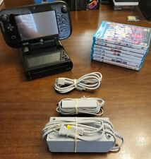 Nintendo Wii U Deluxe 32 GB Black System  Console, 7 Games & Cords - TESTED