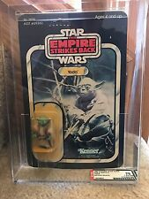 Vintage Star Wars 1980 AFA 75/85/85 Dark Green YODA Brown snake ESB Back card UP