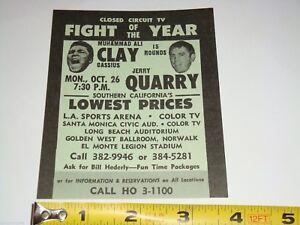 1970 Muhammad Ali Cassius Clay vs Jerry Quarry  Boxing Fight Flyer Handbill Card