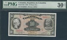 COLOMBIA BANKNOTES  $10 1938 PMG30
