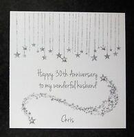 Personalised Handmade Diamond 60th Wedding Anniversary Card White Glitter by Charlotte Elisabeth A008