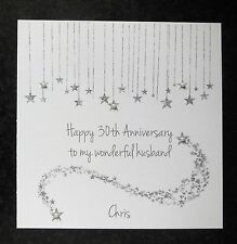 Personalised Handmade On Our 30th Pearl Wedding Anniversary Card -Husband -Wife