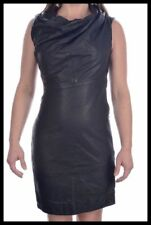 NWT - ALL SAINTS ARIA Black Leather COWL NECK DRAPED Womens Dress - Size 8