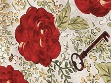 Fabric European Flowers Roses & Keys on Taupe Cotton by the 1/4 yard