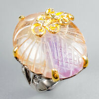 Handmade30ct+ Natural Ametrine 925 Sterling Silver Ring Size 8/R123389