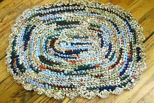 Oval Rag Rug Multi Color Handmade Crochet NEW