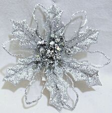 """5"""" WIRED LARGE SILVER POINSETTIA GLITTER FLOWER CLIP-ON CHRISTMAS DECORATION"""