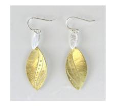 Takobia Brushed Two Tone Leaf Drop Earrings