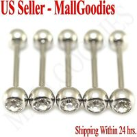 W102 Surgical Steel Regular Clear Gem Jewels Tongue Rings Bar Barbells Lot of 5