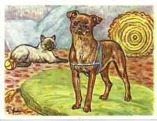 1952 Dog Art Print Austria Bildwerk Card Brabancon Brussels Griffon Bruxellois