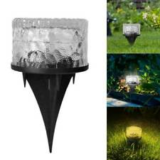 Solar Powered LED Buried Lamp Waterproof Outdoor Lawn Round Glass Ground Lights