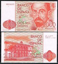 ESPAÑA - BILLETE 2000 PESETAS 1980  J.R. JIMENEZ Sin Serie  SC  UNC
