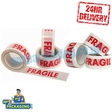 144 Rolls - 48mm x 66m Strong Fragile Printed Parcel Packing Packaging Tape Long