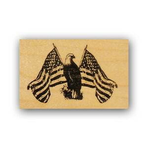 Patriotic Eagle & American flags mounted rubber stamp, military USA PROUD, CMS 4