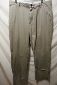 Mens Dockers Beige Straight Fit Chino Pants Flat Front 34x28 Cotton Blend