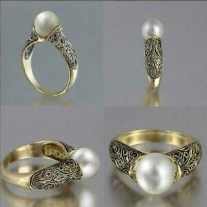 Fashion Wedding Ring For Women Yellow Gold Plated White  Pearl Size Q/8