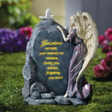 Precious Angel w/ Dove Loving Sentiment Lighted Memorial Cemetery Garden Statue