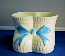 Vintage Haeger Pottery of Dundee Baby Boots Planter Blue Bow