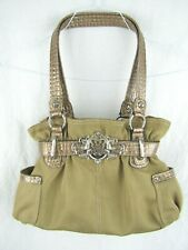 Kathy Van Zeeland Gold Canvas Purse Hobo Alligator Print Trim Handbag Bag Bling