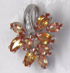 Diamond & Padparadsha (Orange Sapphire) Pendant - 9ct White Gold - 19x15mm
