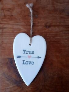 New True Love Ceramic Heart Christmas Tree Bauble Gift Tag Stocking Filler Gift